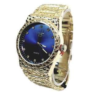 Techno Pave Gold Finish Round Case Crimson Blue Face Mens Watch Gold Nugget Metal Band Bling 8364