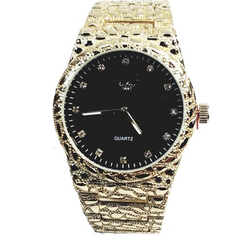 Techno Pave Gold Finish Round Case Crimson Black Face Mens Watch Gold Nugget Metal Band Bling 8364