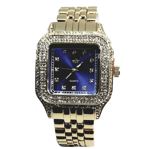 Techno Pave Gold Finish Rectangle Case Aqua Blue Face Bling Mens Watch Metal Band Bling 9196
