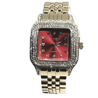 Techno Pave Gold Finish Rectangle Case Crimson Red Face Bling Mens Watch Metal Band Bling 9196