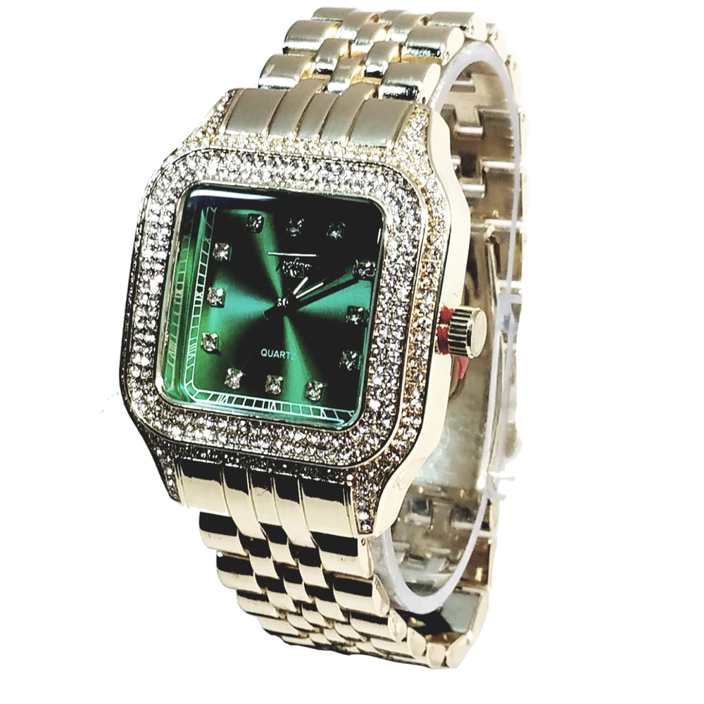 Techno Pave Gold Finish Rectangle Case Emerald Green Face Bling Mens Watch Metal Band Bling 9196
