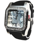 Charles Raymond Silver Finish Iced Lab Diamond Silver Frost Face Mens Watch Black Band Rectangle Case L0132