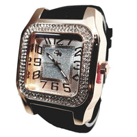 Charles Raymond Rose Gold Finish Iced Lab Diamond Rose Gold Frost Face Mens Watch Black Band Rectangle Case L0132