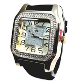 Charles Raymond Gold Finish Iced Lab Diamond Gold Frost Face Mens Watch Black Band Rectangle Case L0132
