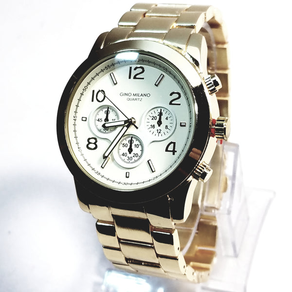 Gino Milano Gold Finish Round Case White Face Mens Casual-Dress Watch Gold Metal Band 7285a