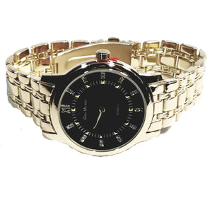 Gino Milano Gold Finish Round Case Black Face Mens Casual-Dress Watch Gold Metal Band 2357