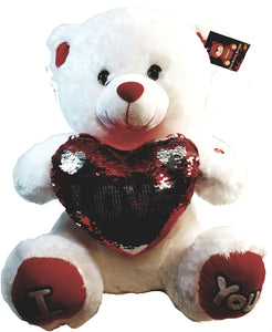 "Large White Teddy Bear Holding Sequins Heart 16.5"" With Sounds"