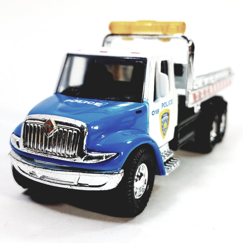 Showcasts Blue & White Police Flatbed Tow Truck Functional Rollback Wrecker 1/64 Scale