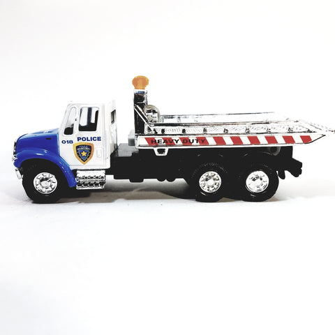 Showcast Blue & White Police Flatbed Tow Truck Wrecker 1/64 Scale