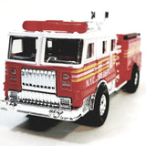 "Modern FD Red & White Fire Engine with Power Hose 6"" Diecast Fire Dept Rescue..."