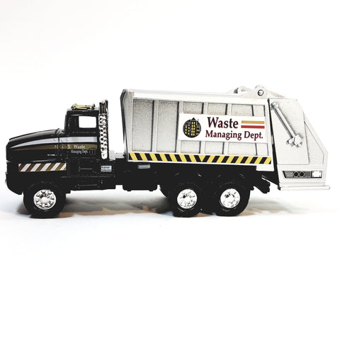 "Black Garbage Truck Recycle/Waste Management Dept 6"" Diecast Commercial Vehicle"