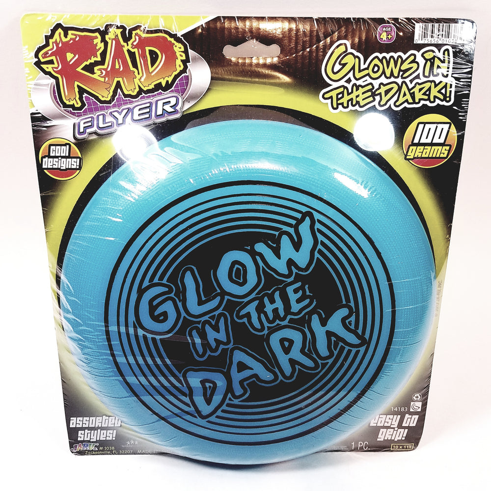 Rad Flyer Glow In The Dark Blue Frisbee With Words Flying Disc Toy