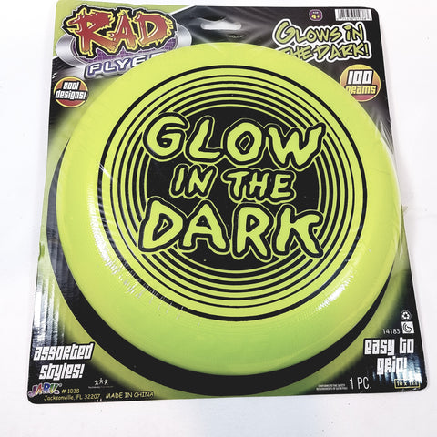 Rad Flyer Glow In The Dark Green Frisbee With Words Flying Disc Toy