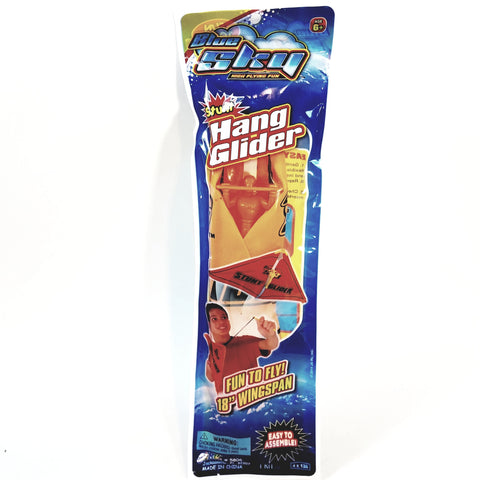BLUE SKY STUNT GLIDER ORANGE FIGURE IN HAND-GLIDER LAUNCHING FLYING TOY