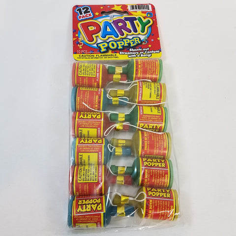 Party Popper 12 Pack Bottle Pull String Confetti Shooting Party Favor