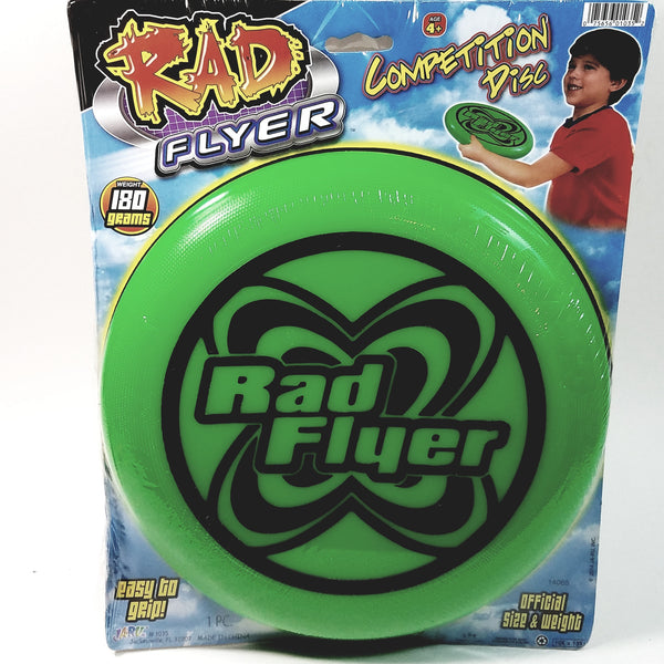 Rad Flyer Green Competition Disc 180 Grams Words On Frisbee With Official Siz...
