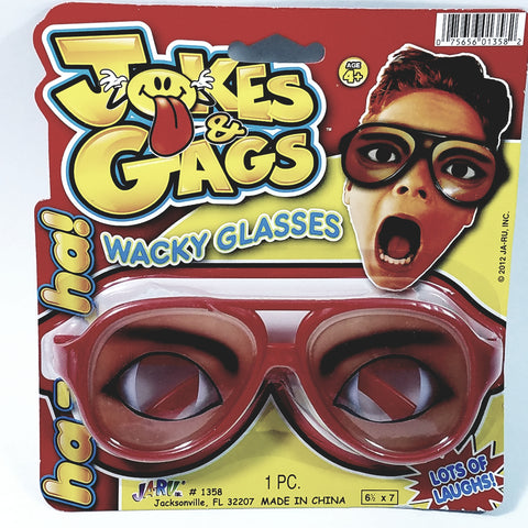 Gags & Jokes WACKY GLASSES SURPRISED EXPRESSION/SPECS BLACK FRAME FUNNY COSTUME N...