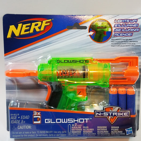 Nerf N-STRIKE GLOWSHOT Light up Glow In The Dark Dart Blaster (3) Darts