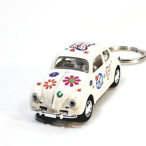 Kinsmart Volkswagen VW Classic Love & Peace White Beetle Keychain 1/64 Diecast Car