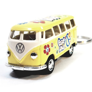 Kinsmart Yellow Classic 1962 Love & Peace VW Volkswagen (Hippie) Bus Keychain...
