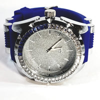 Techno Pave Gold Finish Frosted Silver Face 55+ Lab Diamond Mens Watch Blue Silicon Band 7981