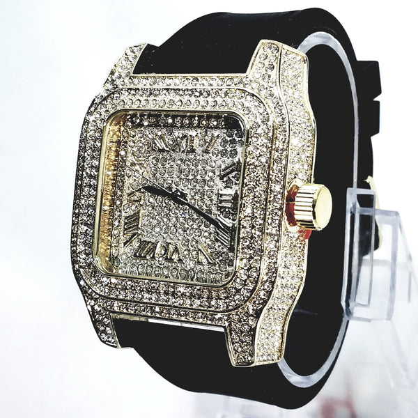 Techno Pave Gold Finish Iced Out Lab Diamond Face Mens Watch Black Band Recta...