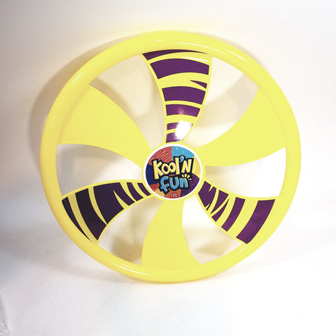 "Kool N Fun Fly Wheel 9"" Round Yellow Frisbee Flying Disc Toy"