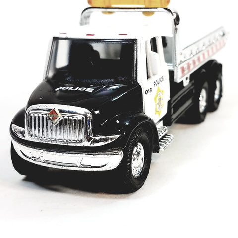 Showcasts Black & White  Police Flatbed Tow Truck Functional Rollback Wrecker 1/64 Scale