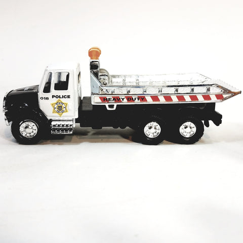 Showcasts Black & White (LAPD Colors) Police Flatbed Tow Truck Functional Rol...