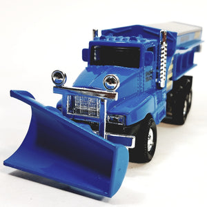 "SF Toys Blue Front End Snow Plow Rear Salt Spreader 5.75"" Diecast Truck"