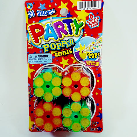 Party Popper Confetti Shooting Toy Refill For Gun/Pistol 4 Refill (24 Shots)