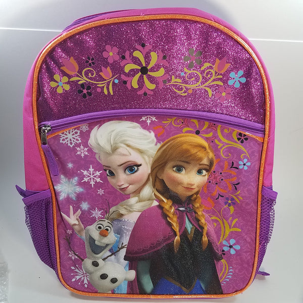 "New Frozen Pink Large 16"" School Bag/Knapsack/Backpack & Lunch Bag Elsa & Anna"