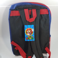 "New Super Mario Bros Blue Large 16"" School Bag/Knapsack/Backpack w/Matching Lunch Bag"