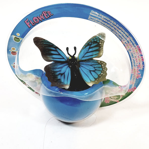 Blue Butterfly Solar/Light Activated Flower Pot With 3D Grahics On Flapping W...