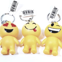 "EMOJI Complete Set Of 6 Figures With Different Expressions Keychain 5.5"" Tall"
