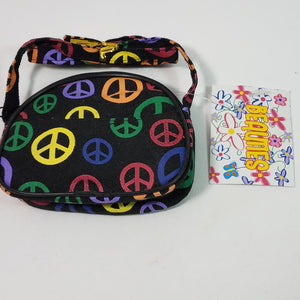 Black Peace Sign Designer Wallet /Coin Purse/Mini Cross Body Bag 1 Compartmen...