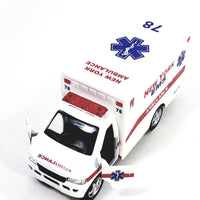 Kinsmart Ford E-350 NYC EMS DEPT White Paramedic Ambulance 1/36 Scale New Yor...