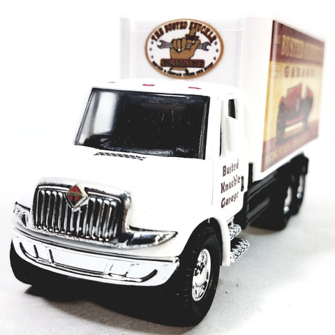 Showcasts International White Busted Knuckle Garage Box Truck 1/48 Scale Diecast