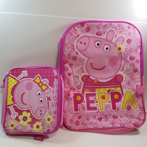 "New Peppa Pig Pink Large 16"" School Bag/Knapsack/Backpack With Detachable 9"" Lunchbag"