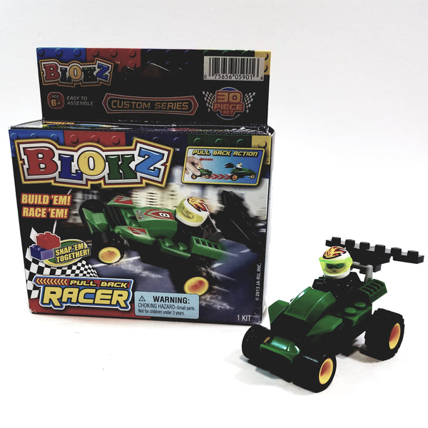 Blokz Green & Yellow Motoriezd Pull Back Racer Custom Build-It 30 Piece Kit