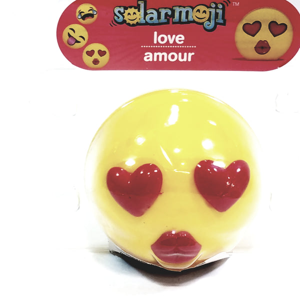 Solar Dancer Yellow EMOJI Love In Your Eyes Out Face Solar/Light Activated Moving Tongue