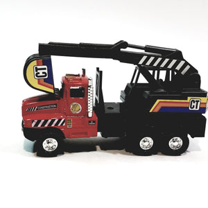 "Red International Power Shovel Truck 5"" Scale Commercial Construction Diecast"