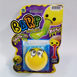 EMOJI BARF Yellow Crazy Eyes Face With Blue Slime Squishy Slime Ball With 1 Packet .53oz Of Goop