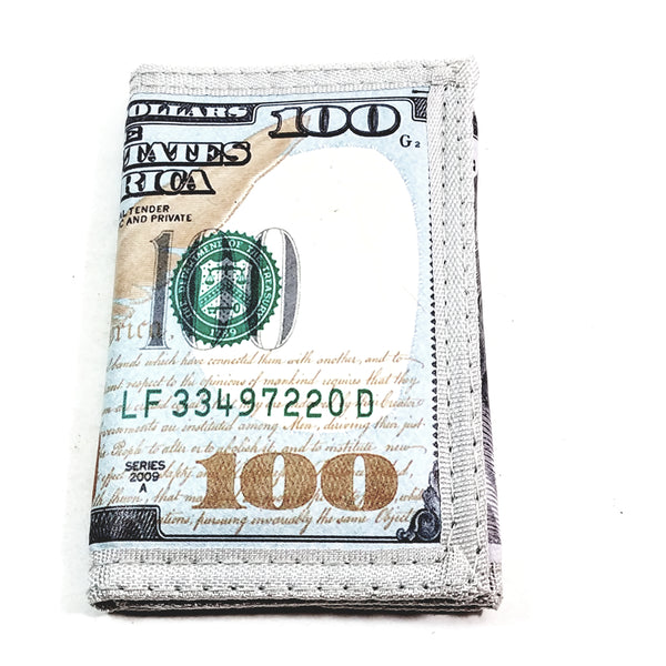 Benjamin Franklin ($100) One Hundred Dollar Bill (3)Tri-Fold Wallet