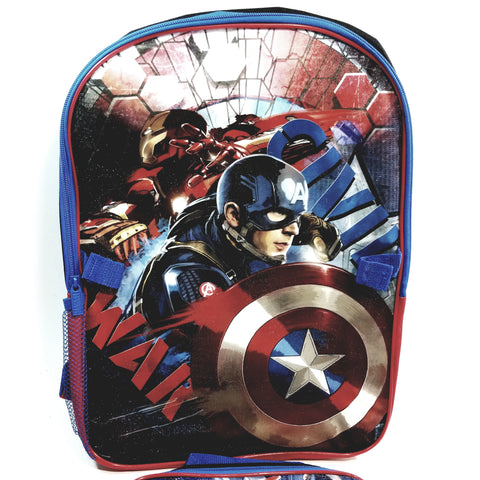 "New Captain America Civil War Blue & Black Large 16"" School Bag/Knapsack/Backpack"