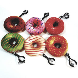"Complete Set Of 6 Mini Donuts 3"" Keychain Soft Plush Toy Douhgnut"