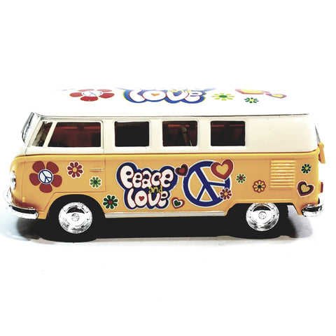 Kinsmart Volkswagen VW Love & Peace Canary Yellow 1/32 Hippie Diecast Bus