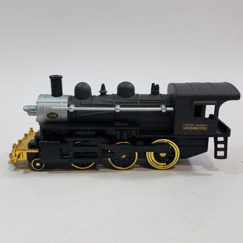 "Classsic Black Gold & Silver #188 Steam Engine Locomotive 7"" Diecast Train"