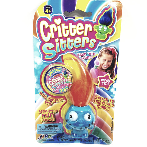 "Critter Sitters Crazy Eyes Stitch Mini 3"" Blue Tribal Pygmy Doll"