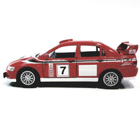 Kinsmart Mitsubishi Lancer Evo #7 Tommi Makinen WRC Finland Rally Red 1/36 Scale Diecast Race Car